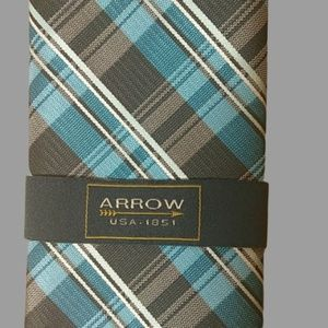 Arrow men's neckties blue plaid and NWT